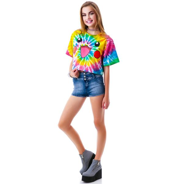 O Mighty Pika Pikachu Tie Dye Crop Tee