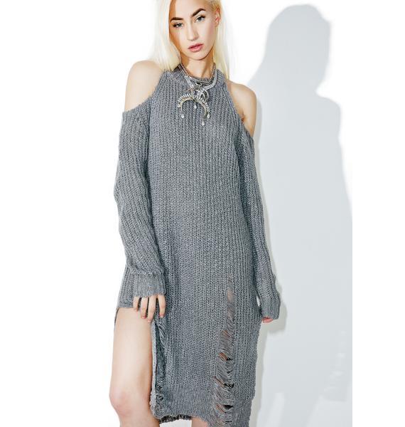 Blast Damage Distressed Knit Dress
