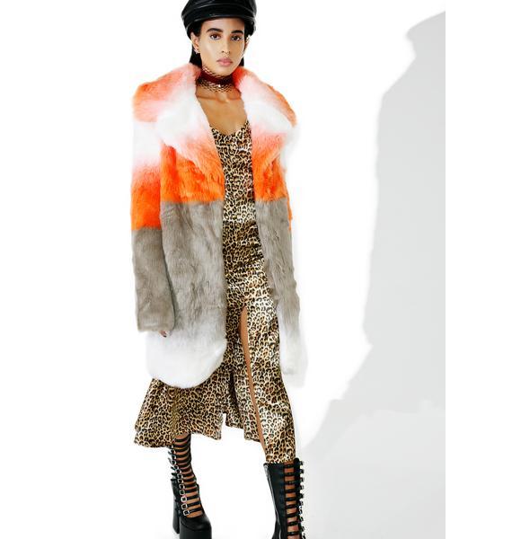 Glamorous Blurred Linez Faux Fur Coat