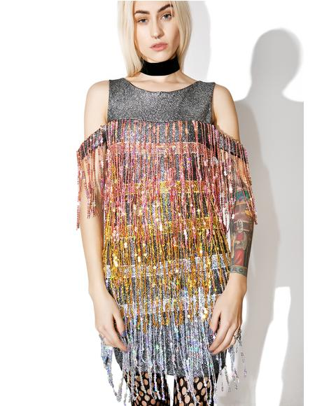 Sequin Fringe Mini Dress