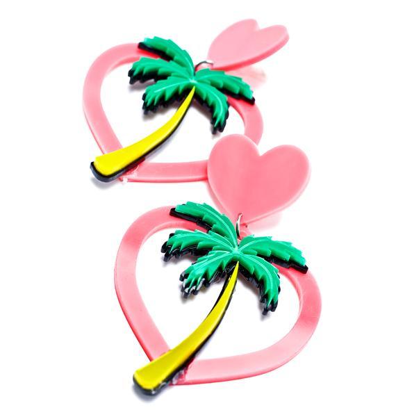 Haus of Dizzy Hawaiian Hearts Earrings