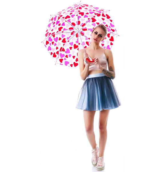 Raining Hearts Clear Umbrella