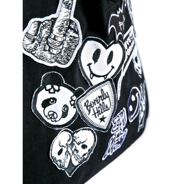 Lauren Moshi Taylor Patches Canvas Tote Bag