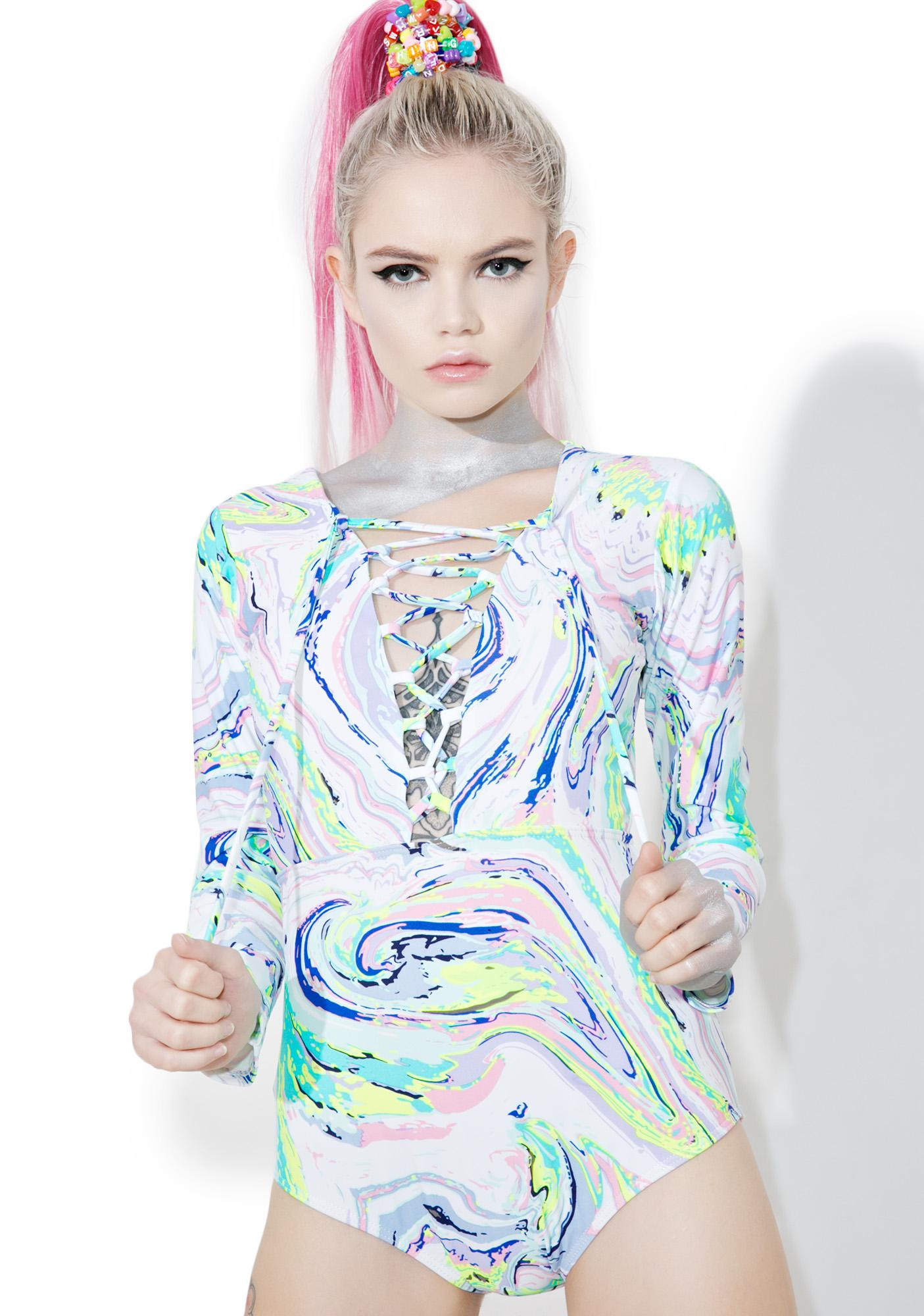 Acid Swirls Lace-Up Bodysuit