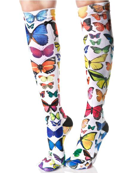 Butterflies Knee High Socks