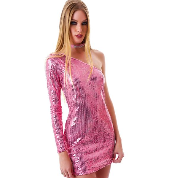 Glitterati Asymmetric Sequin Dress