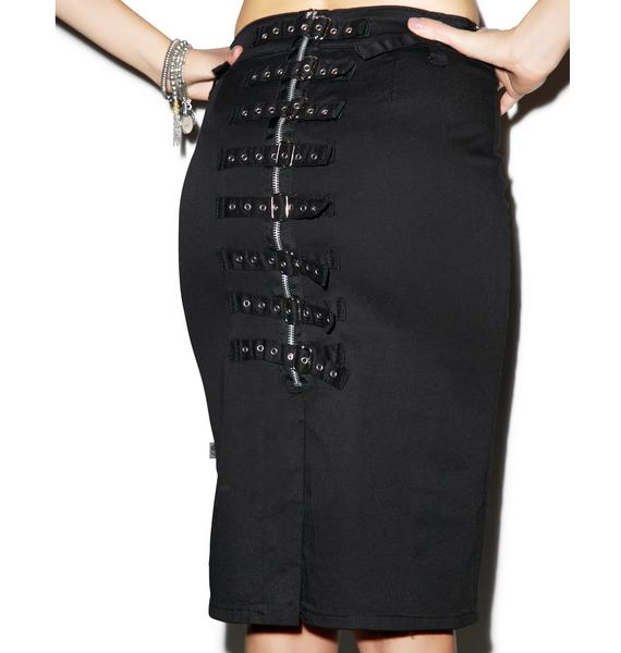 Tripp NYC Back Buckle Knee Skirt