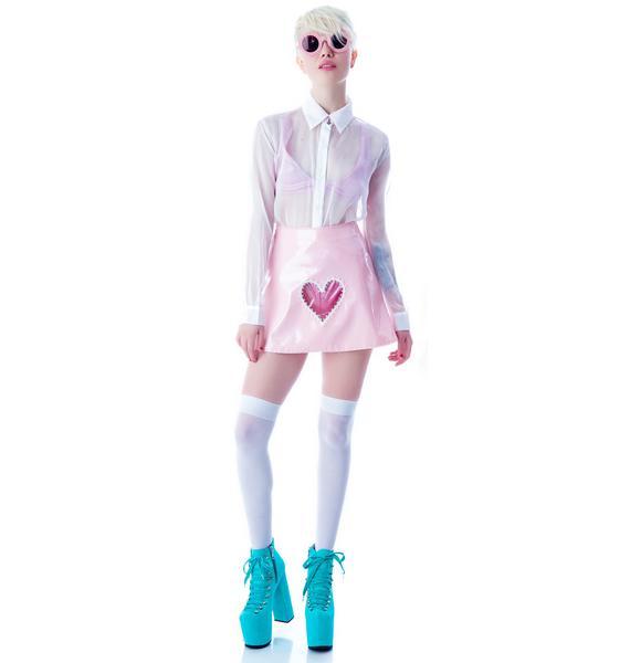 Clear Heart Vinyl Skirt