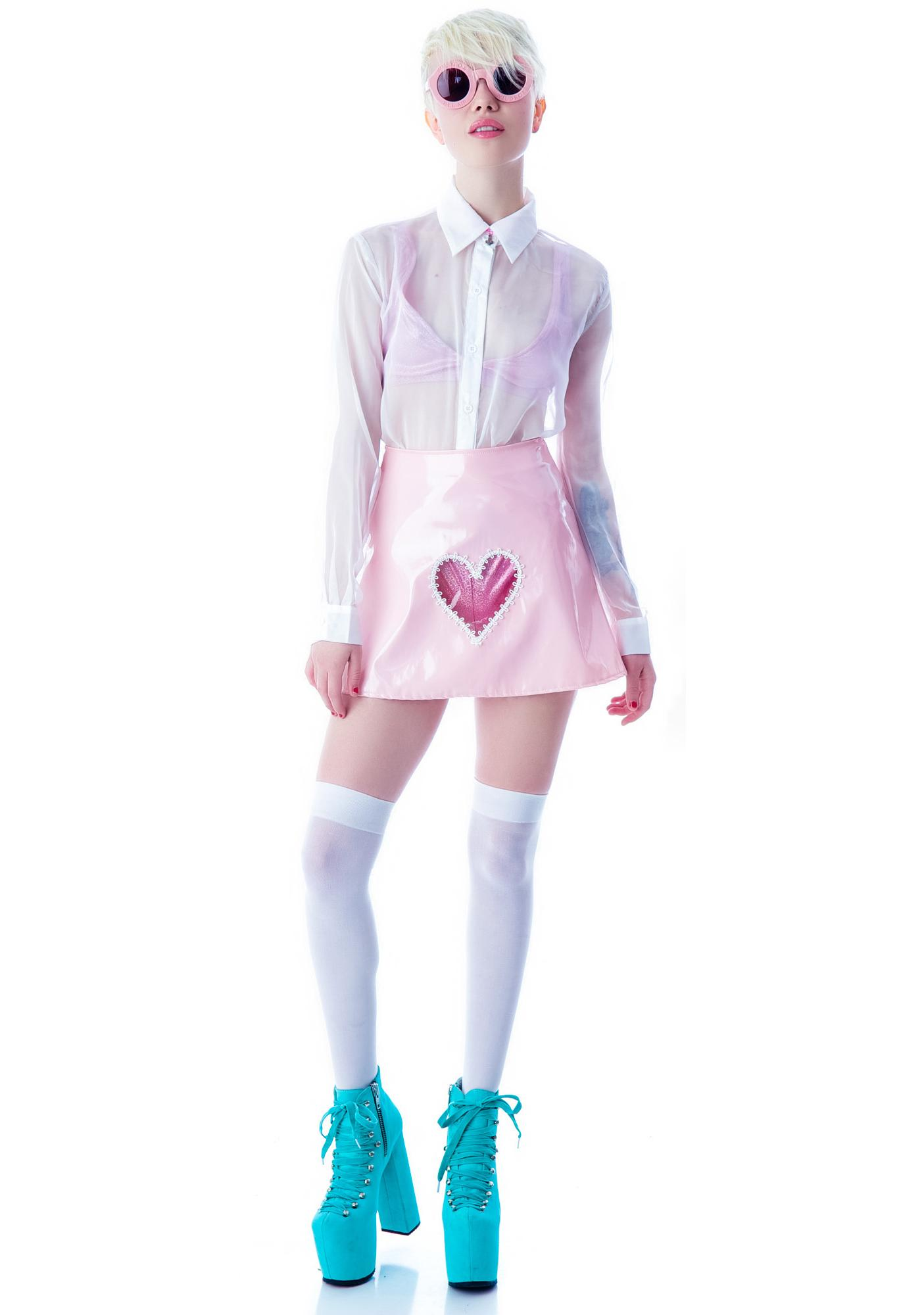 Clear Heart Vinyl Skirt
