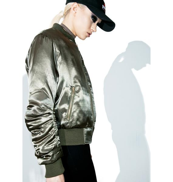 Olive Set The Tone Bomber Jacket