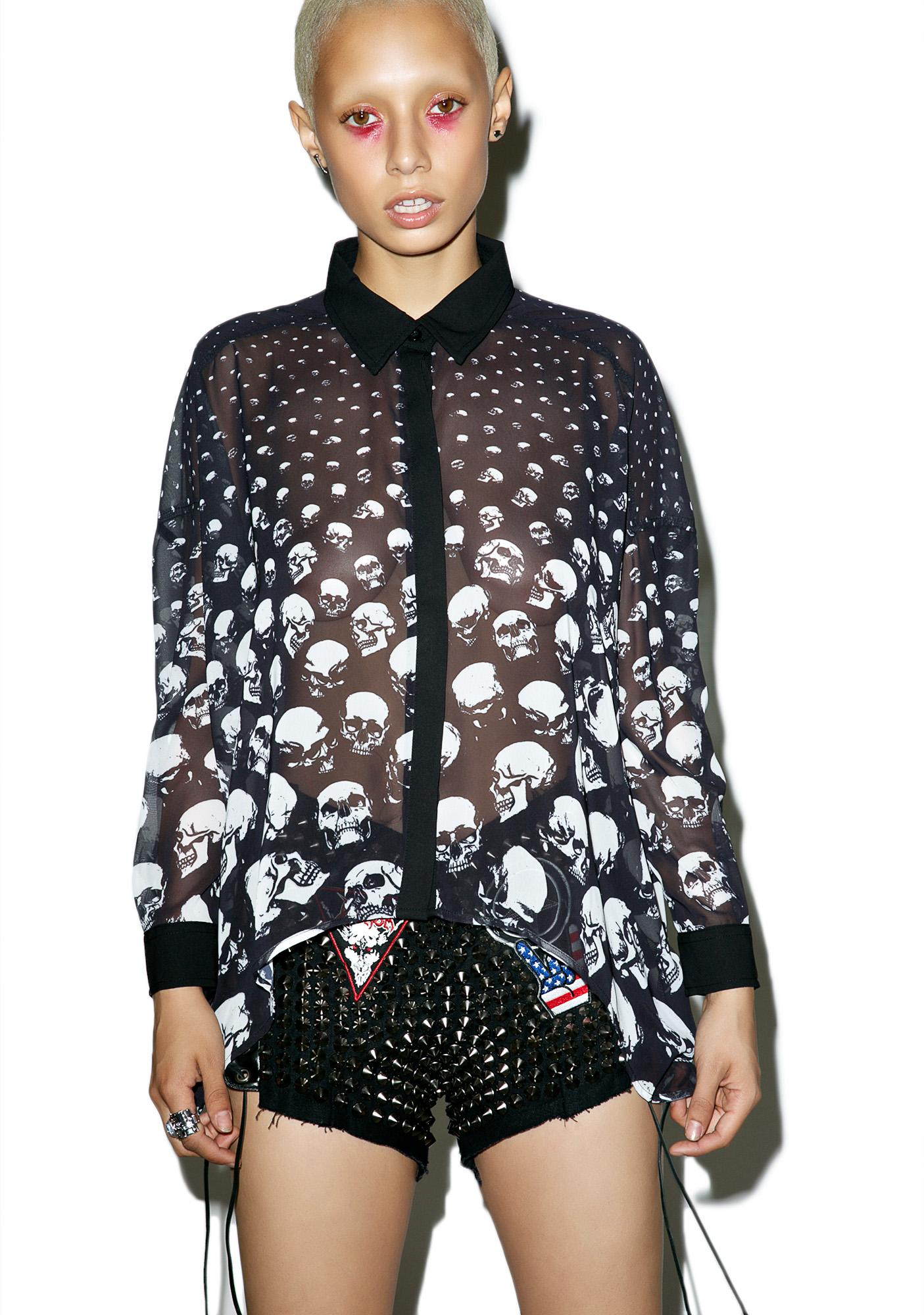 Killstar Skully Chiffon Shirt