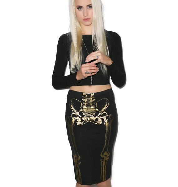 Iron Fist Them Bones Pencil Skirt