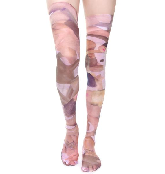 Coveted Society Broken Dolls Sheer Knee High Socks