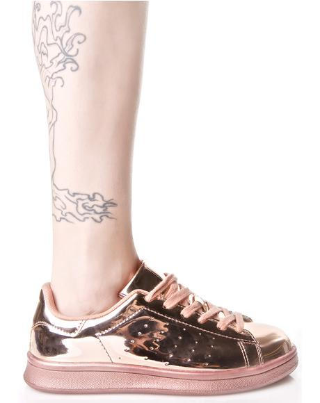 Melted Rose Metallic Sneakers