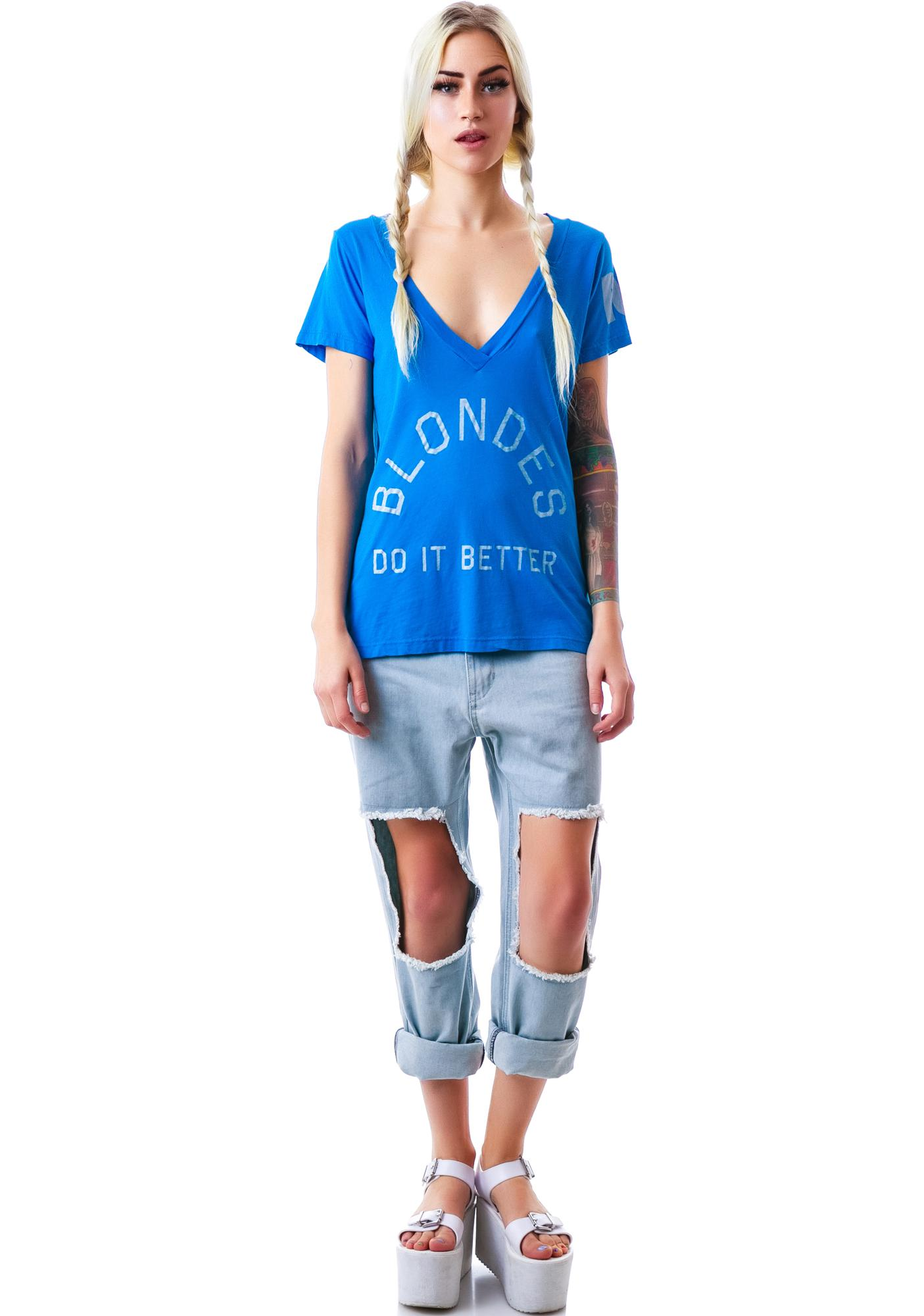 Rebel Yell Blondes Do It Classic V Neck Tee