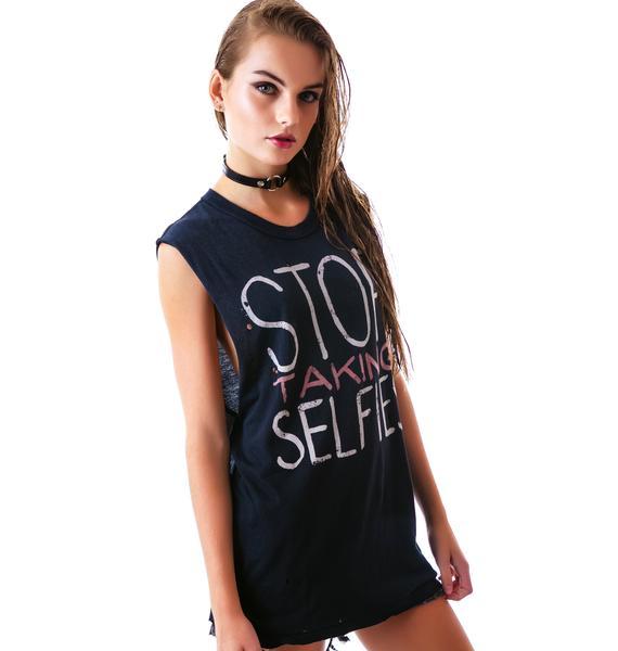 UNIF Stop Taking Selfies Sleeveless Tee