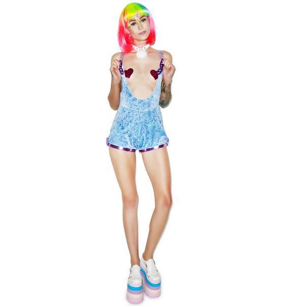 J Valentine Blue Swirl Suspender Shorts