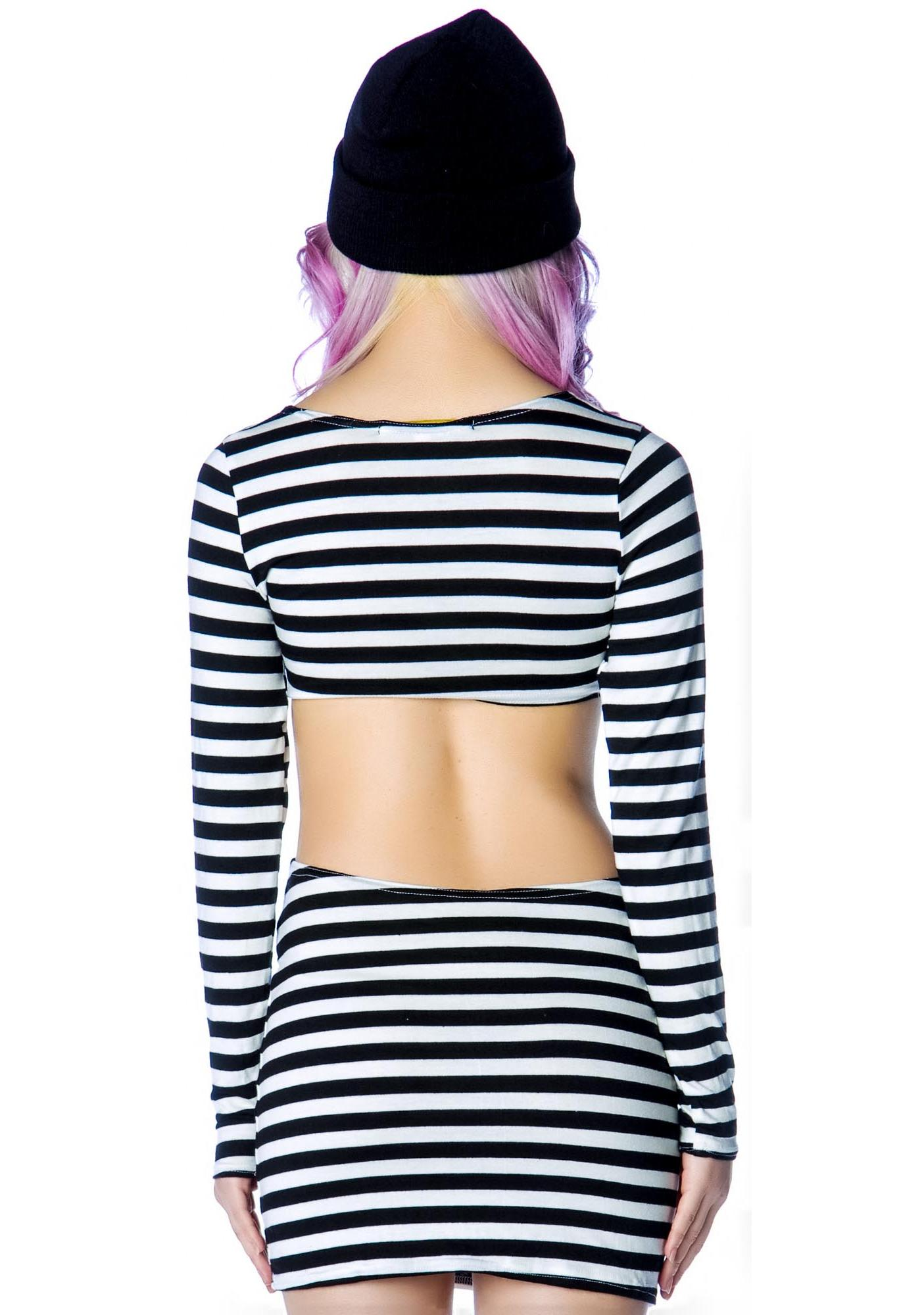 Our Prince of Peace Black and White Stripes Sabbath Dress