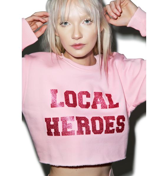 Local Heroes Glitter Cropped Sweatshirt