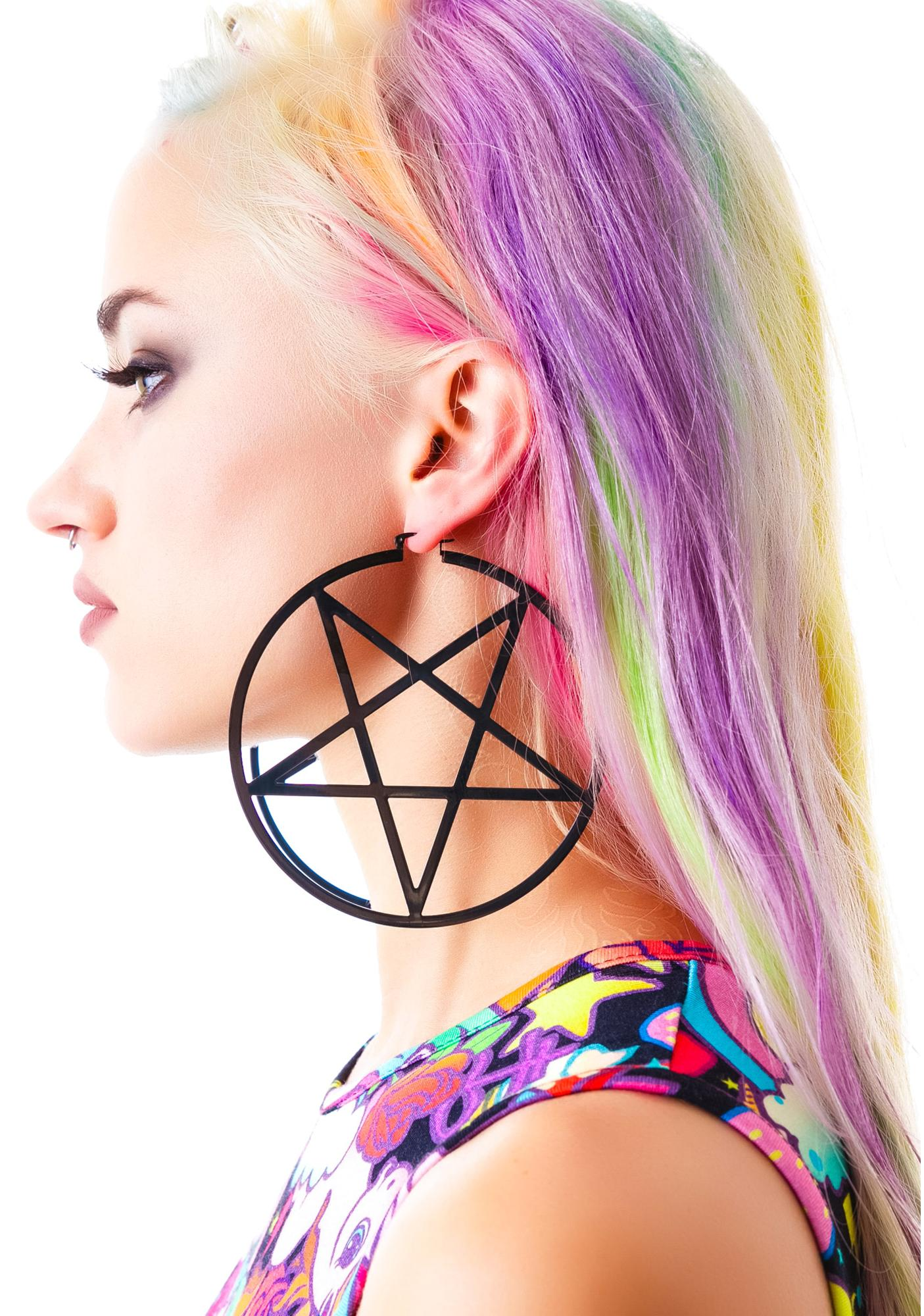 Killstar Pentagram Hoop Earrings