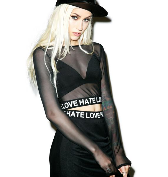 Hate Love Mesh Crop Top