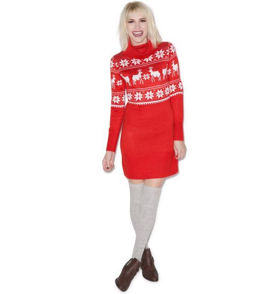Tipsy Elves Red Fair Isle Dress