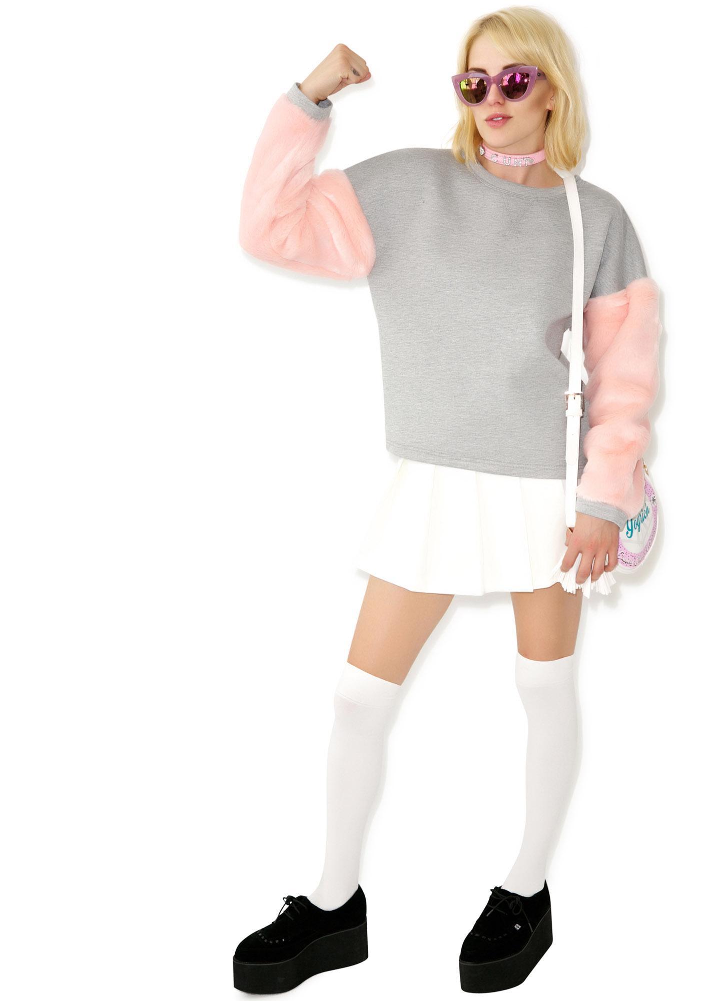 As If Fur Sleeve Sweater