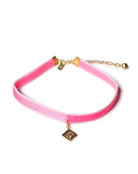 Hot Pink Diamond Charm Velvet Choker
