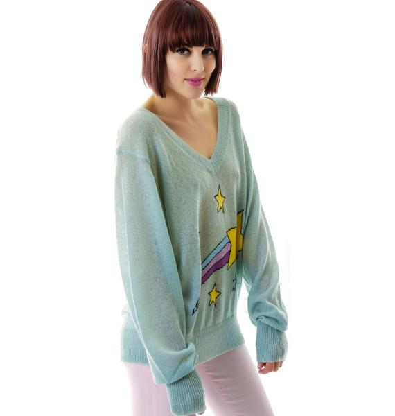 Wildfox Couture Shooting Star School Girl V-Neck Sweater