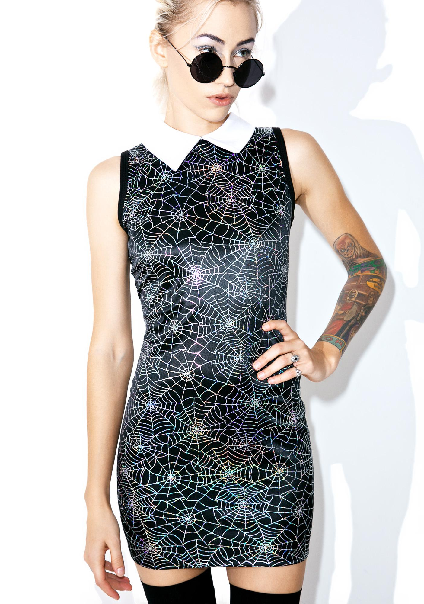 Vera's Eyecandy Hologram Spiderweb Dress
