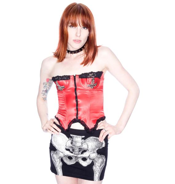 Kreepsville 666 Skelli Bone Mini Skirt