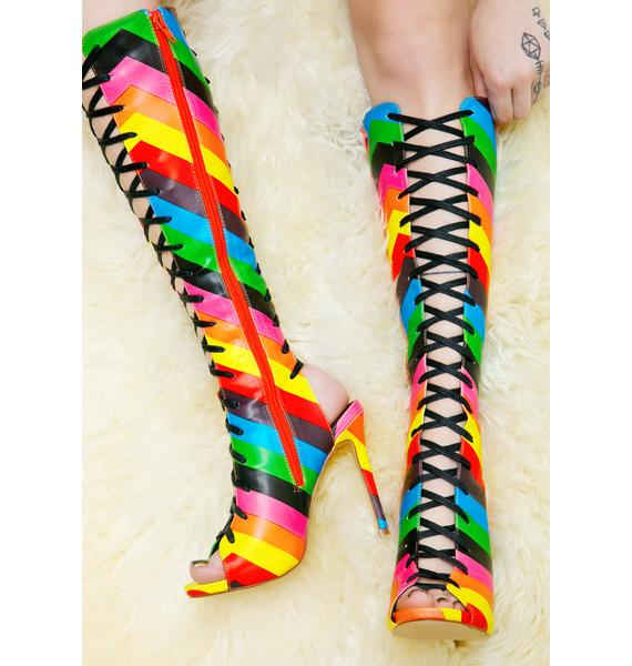 Rainbow Sherbet Lace-Up Heels