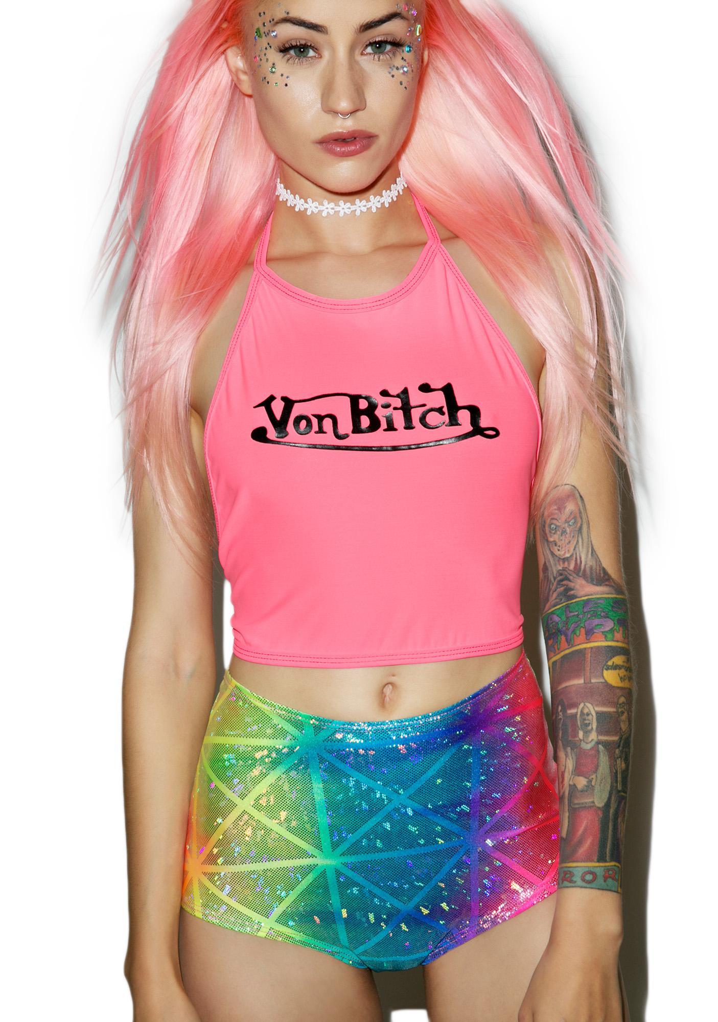 J Valentine Rainbow Prism High Waist Shorts