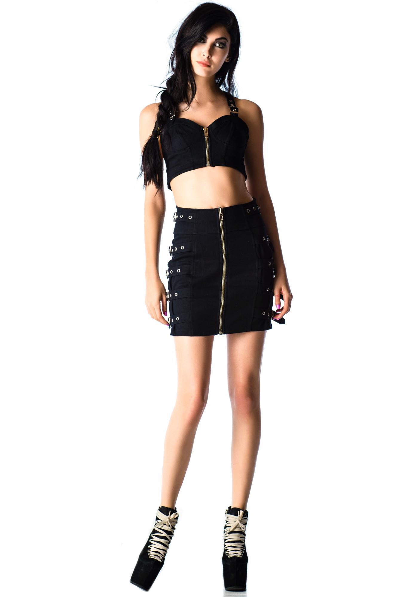 Lip Service Bound Up Zip Buckle Skirt