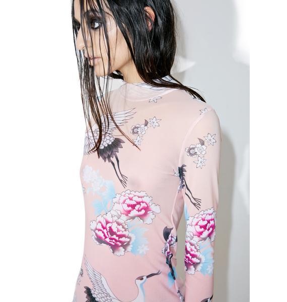 Jaded London Ombre Crane Mesh Mini Dress