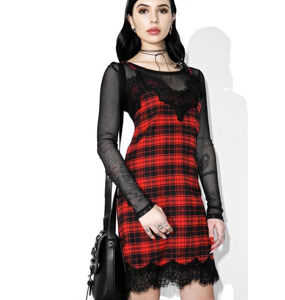 Scarlet Falling Out Plaid Slip Dress