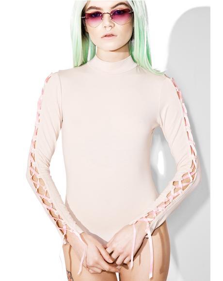 Nude Lace-Up Bodysuit