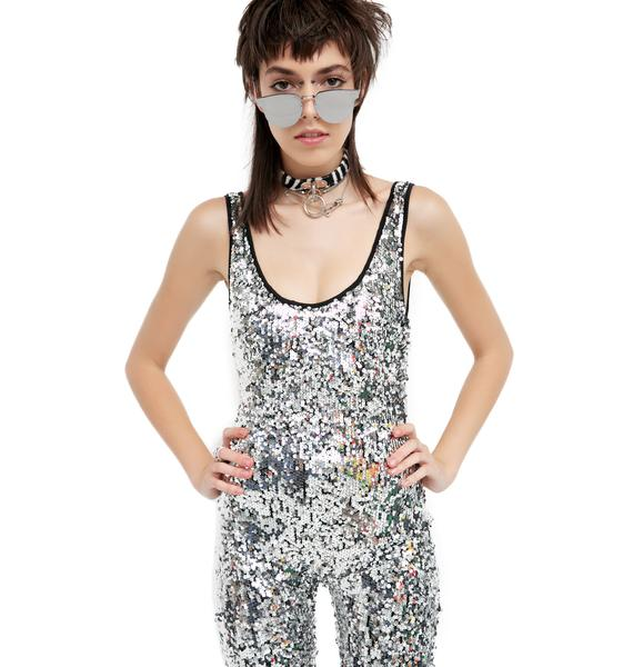 Jaded London Silver Sequin Jumpsuit