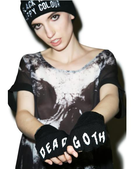 Dead Goth Fingerless Gloves