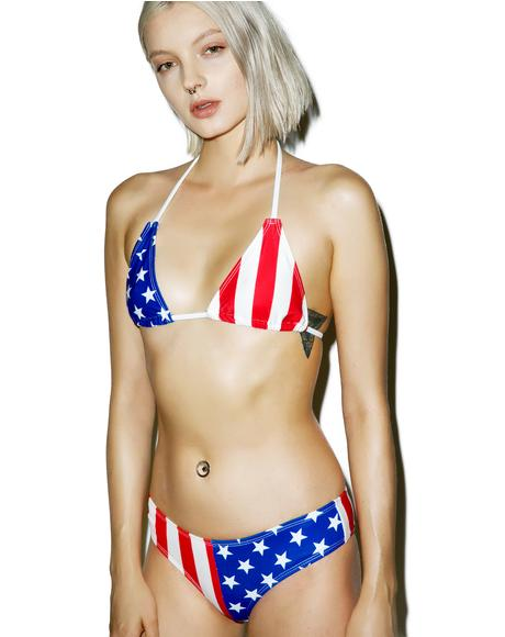 Red, White And Rude Bikini Set