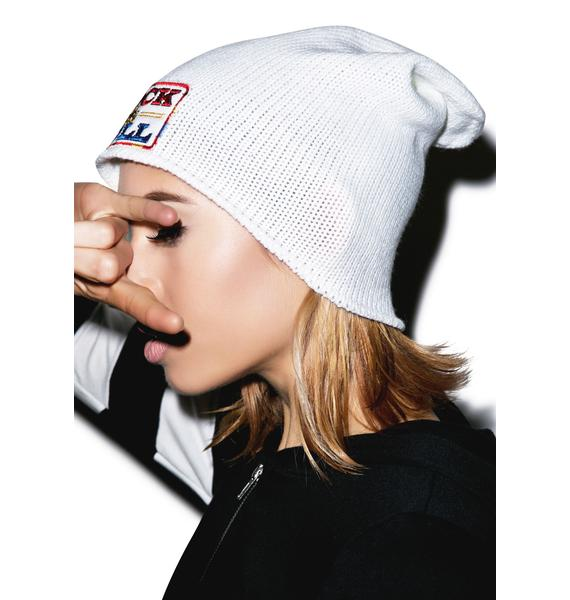 Lauren Moshi Dede Rock And Roll Patch Beanie