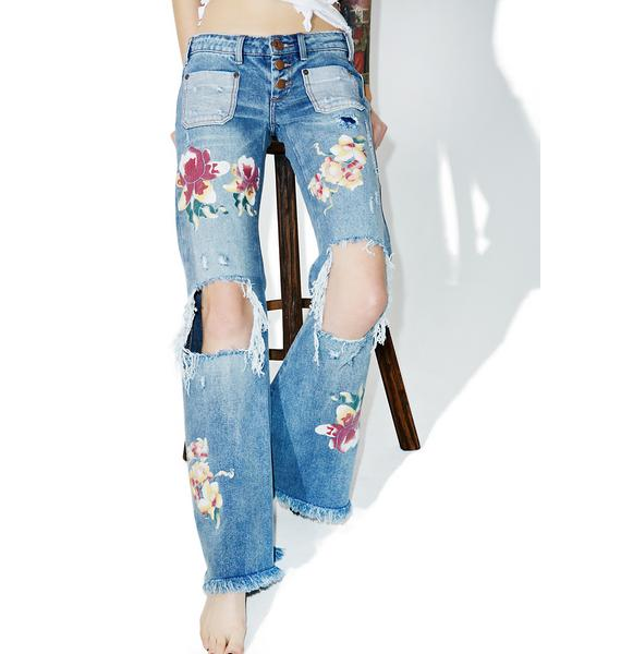 One Teaspoon Orchid Distressed Bell Bottoms