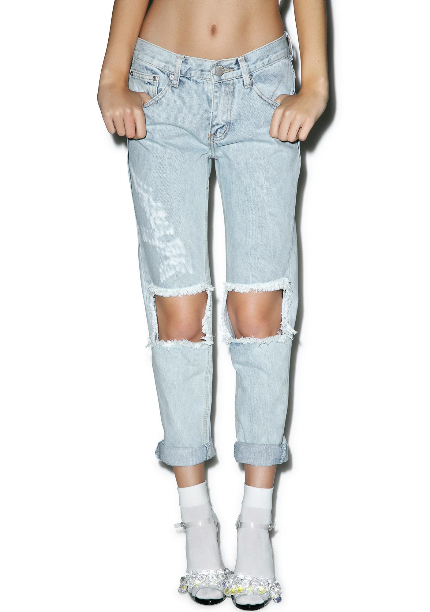 Glamorous Won't Stop Destroyed Boyfriend Jeans