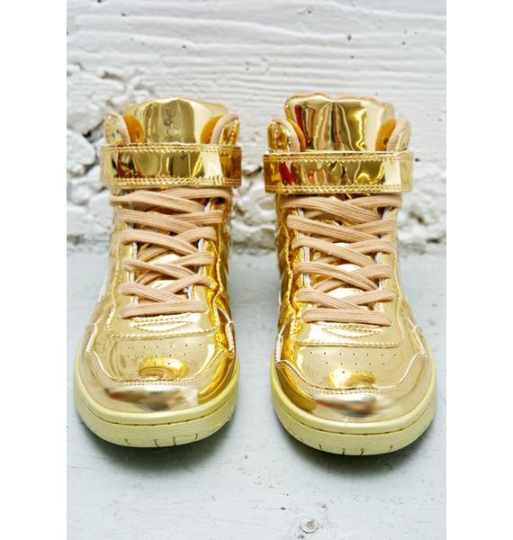 Gold Digger Metallic High Top Sneakers