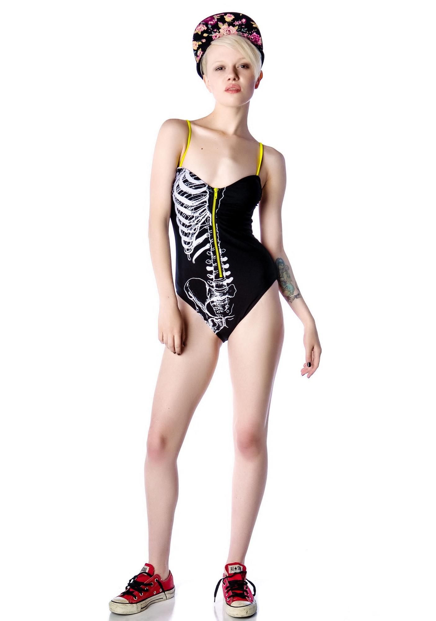 Iron Fist Caged Zipper Swimsuit