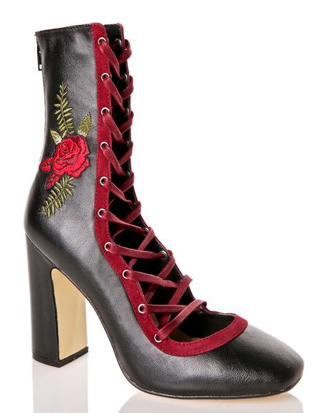 Black Rose Leather Heels