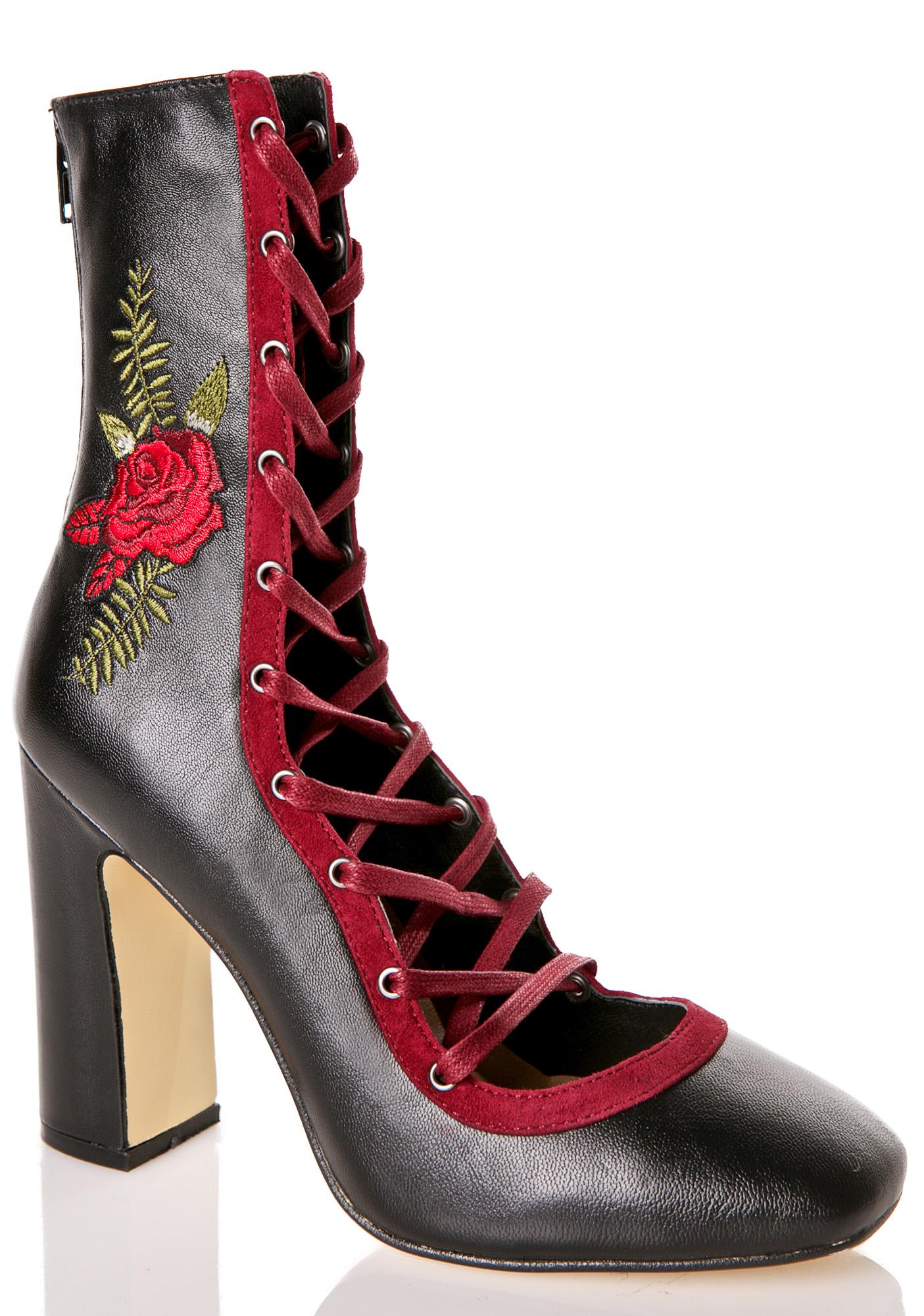 Chinese Laundry Black Rose Leather Heels