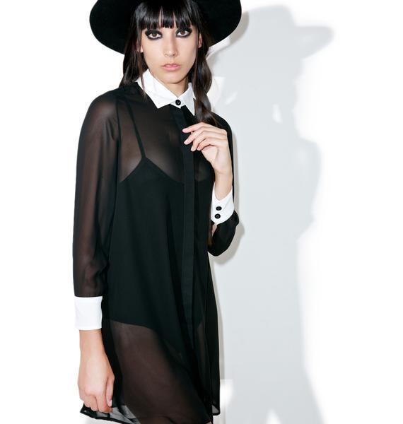 Killstar Wednesday Chiffon Shirt Dress