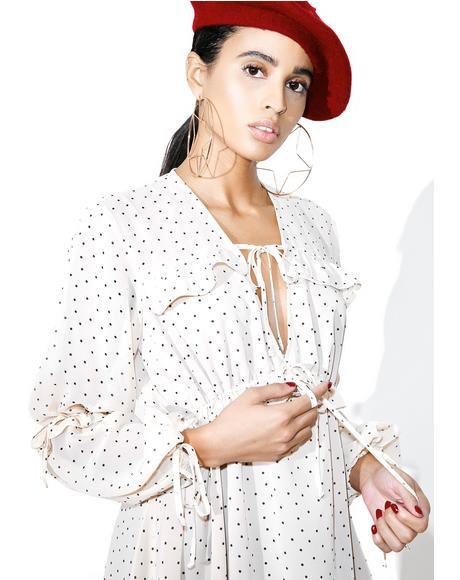 Creme Dot Truffles A-Line Dress