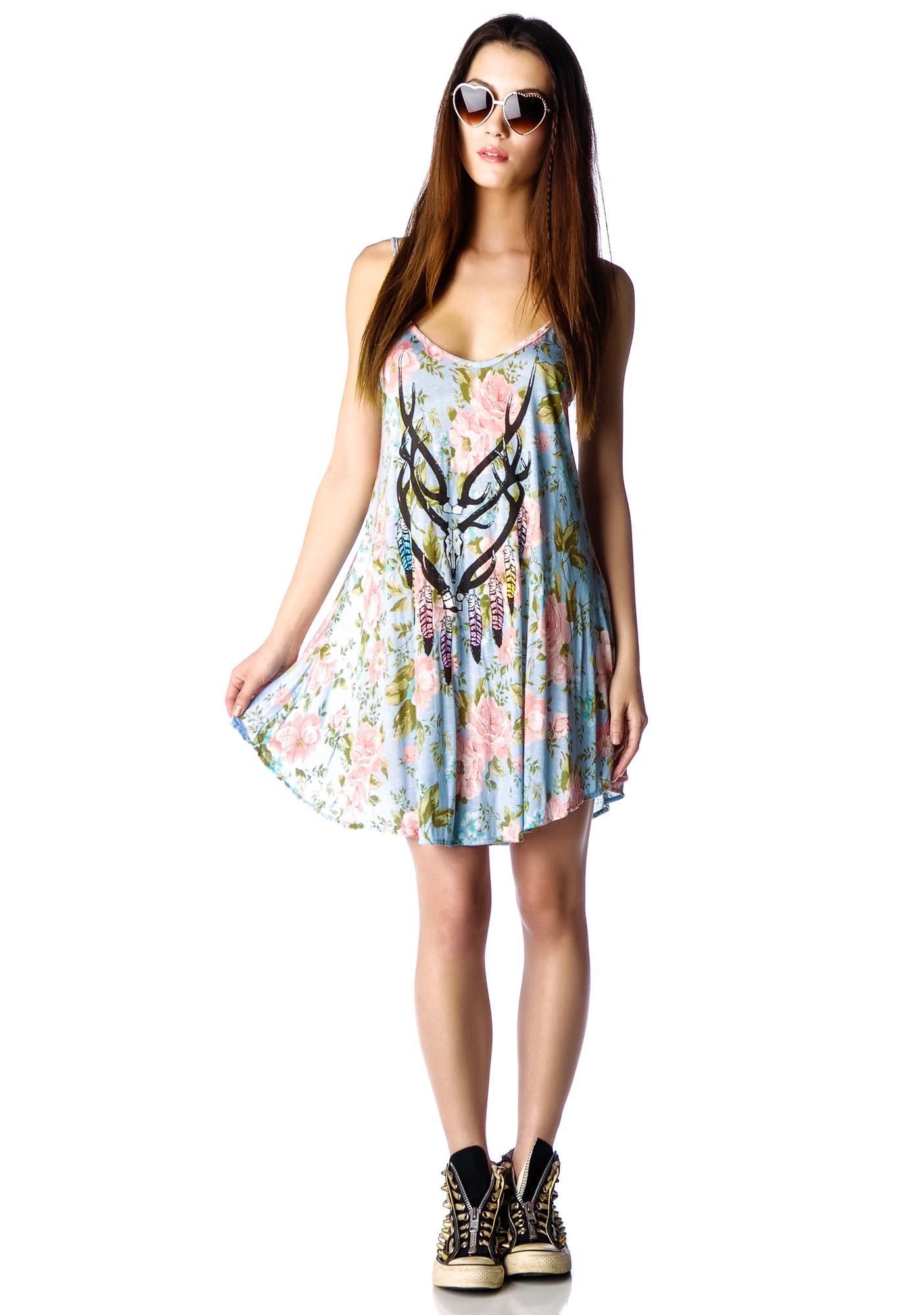 Wildfox Couture Antler Feathers Slip Dress